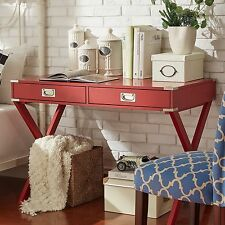 Red Campaign Writing Desk X-Legs Home Office Study Living Room Furniture Dorm