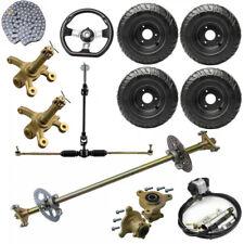 "New listing 29"" Go kart Rear Live Axle kit +Sprocket & Hub + Tie Rod Pinion Rack + 6"" Wheels"