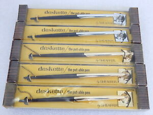 5 New Vintage 1970s Sheaffer Deskette Ball Pen on a Chain Counter Bank Desk