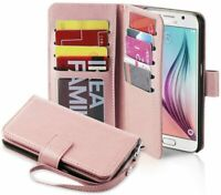 For Samsung Galaxy S6 Protective Leather Wallet Case Card Slot Holder Rose Gold
