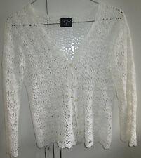 Now Size 8 White Lace Crochet Look Knit Jacket Top Button Front Pure cotton