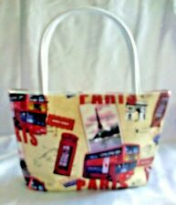 NEW SMALL SOFT VINYL LINED TOTE BAG PARIS DESIGN WITH ZIPPER