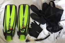 Aqualung Scuba/Diving/Snorkel Fins Size Giant / Boots Size 13, gloves Xl, bag