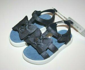 NEW Carter's Nadia Chambray Platform Sandals Girls Size 7 Navy Blue Bows
