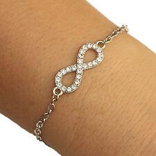 Silver Tone Rhinestone Infinity Charm Oval Chain Bracelet Lucky Bracelet