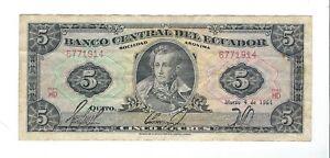 Ecuador - 1964 , 5 Sucres