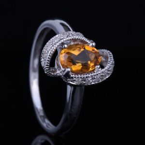 Lady Oval Citrine Solid 14K White Gold Diamond Wedding Anniversary Gemstone Ring