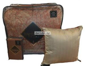 WATERFORD Caine Spice Taupe Paisley 6P KING COMFORTER SET SHAMS PILLOW BEDSKIRT