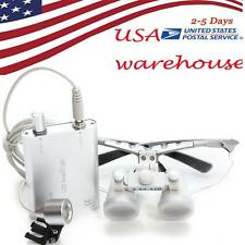 Dental Surgical Medical Binocular Loupes 3.5X 420mm With Headlight Silver USA !!