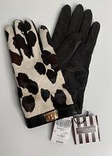 HENRI BENDEL Turnlock Calf Hair/Leather Finger Tech Gloves