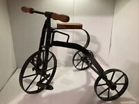 "Vintage Mini Tricycle Decor Toy Vintage Wood & Metal 10"" Height 12"" Length"