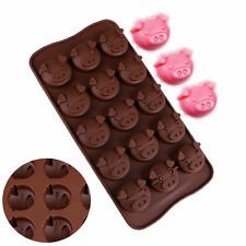 15 Pig Heads Shape Chocolate Mold Silicone Cake Icy Fondant Sugar Jelly Moulds