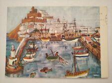 Postal Ibiza naif ingeborg gauger Puerto escrita año 1975 post Card arte