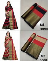 Indian Kanchipuram Silk Cotton Saree Bollywood Pakistani Traditional Sari MB