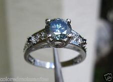 Certificate Wedding Ring, Size 7.5 1.04ct Blue Moissanite Solitaire w/Accents,