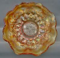 "Fenton FEATHERED SERPENT Marigold Carnival Glass 9¾"" Ruffled Bowl 7199"