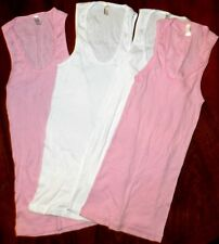 Tank Top Set 4pc American Apparel White Pink Ribbed Misses size Small 0-2 New