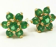 14K Solid YG Diamonique Green Flower Cluster Petite Stud Earrings Pierced CZ QVC