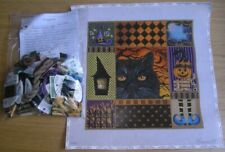 Lani Halloween Cat Collage Handpainted Needlepoint Canvas with threads and Sg