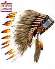 Indian Chief Native American Yellow And Orange Feather Indian Headdress.CHEAPEST