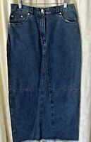 Lauren Ralph Lauren Jean Denim Skirt Raw Hem Modest Long Full Length Med Wash 10