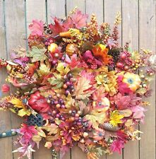 "23"" Fall Door Wreath Handmade on Wire Base Pumpkins Leaves Berries Pinecones"