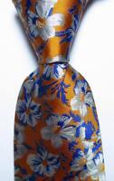 New Classic Floral Gold Blue Gray White JACQUARD WOVEN Men's Tie Necktie  Silk