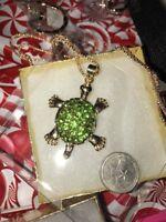 Betsey Johnson Necklace Green Gold Turtle Tortoise Crystal Sea Turtle Tortoise