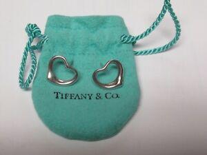 Tiffany & Co. Elsa Peretti Open Heart Stud Earrings Sterling Silver 925 w/Pouch