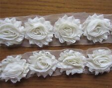 5pcs Vintage Chiffon Rose Lace Trim Chic Bridal Wedding Dress Flower Ribbon DIY