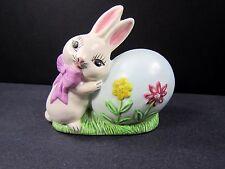 "Vintage 80s Bunny Rabbit Egg Figurine Easter 4"" Handmade USA Hand Painted"