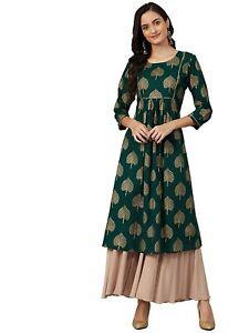 Indian Women Green & Golden Printed A-Line Kurta Kurti Top Tunic Ethinc Style