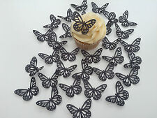 32 Edible Black Butterflies Pre Cut Wafer Cupcake Toppers