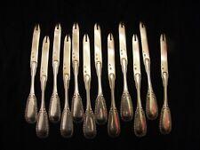 Rare Couteaux à Melons en Argent Massif Silver Silber Perles Olivier
