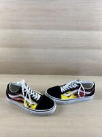 VANS Old Skool Black Flame Canvas/Suede Lace Up Low Top Shoes Mens 6  Womens 7.5