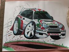 TOYOTA COROLLA WRC Rally Caricature A3 Sized Print