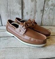 Men's Polo Ralph Lauren Barx Tan Brown Leather Moccasin Deck Shoes UK 9 / EU 43