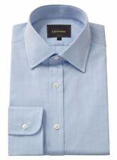 Crombie Mens Pure Cotton Blue Herringbone Classic Collar Single Cuff Shirt 17R