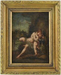 Venus and Cupid Antique Old Master Oil Painting 17th/18th Century Italian School