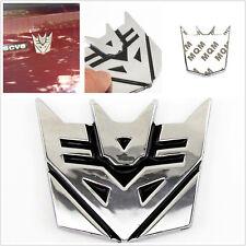 100% Metal Silver 3D Transformers Decepticon Badge Car Exterior Sticker For Fiat