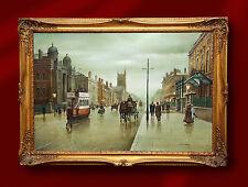 Grand original peinture à l'huile Steven Scholes à Manchester Central Northern artiste