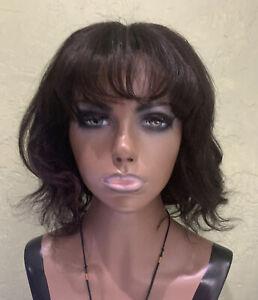 Lace Front 100% Real Human Hair Wig Bangs Dark Brown Wavy 12 inches