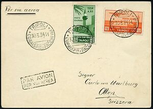 Italienisch-Tripolitanien 1934 Postkarte Luftpost Tripoli nach Olten Schweiz/ 17