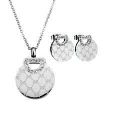 Fashion Women Rhinestone Clay Pave Silver Plated Jewelry Sets Earring Necklace