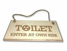 Toilet - Engraved wooden wall plaque/sign