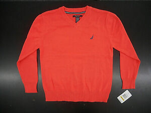 Boys $44.50 Nautica LS V-Neck Coral Sweater Size 10/12
