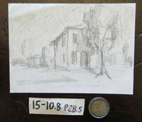 Drawing Antique Studio Preparatory View Home Countryside Sketch Original P28.5