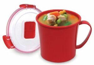 4 X Sistema Microwave Soup Mug - 656 ml, Red New