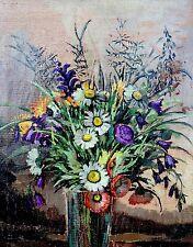 Ölgemälde Blumenstrauß Glockenblumen in einer Vase signiert Hilde Böklen