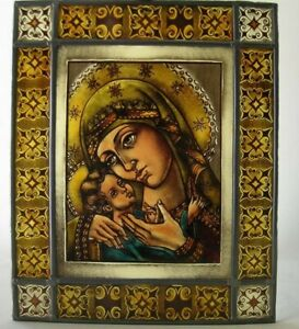 Antique stained glass Church window Virgin Mary with Jesus